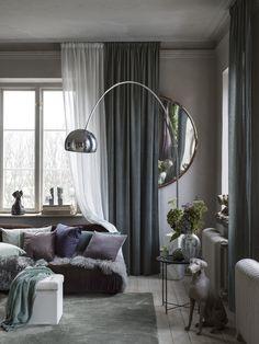 Curtains Living, Oversized Mirror, Living Room, Furniture, Home Decor, Vit, Tape, Pastel, Decoration Home