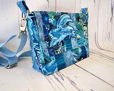 Cross body bag blue dolphin bag patchwork shoulderbag