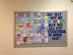 Bulletin board I made with my students on the 1st week of school. I had 6 different puzzle piece templates that the students could choose from. The students got to design the pieces however they wanted. Then they had to put it on the board themselves. They had to make sure the piece fit properly according to the template. Their piece needed to be upright too. So if they out their name on it then it couldn't be upside down. Puzzle Bulletin Boards, Bulletin Board Design, Bulletin Board Display, School Bulletin Boards, Puzzle Piece Crafts, Puzzle Pieces, Classroom Board, Classroom Themes, Highlights
