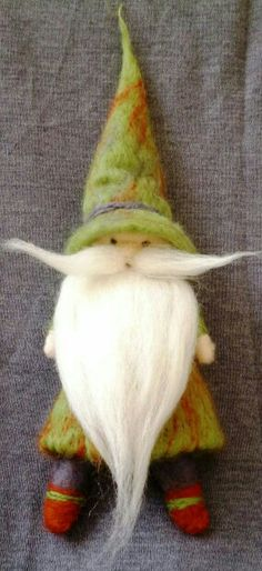 Needle felted Holiday Gnome- Elf- Tomte of natural wool Felt Christmas, Handmade Christmas, Christmas Crafts, Wet Felting, Needle Felting, Waldorf Crafts, Felt Fairy, Needle Felted Animals, Felt Dolls