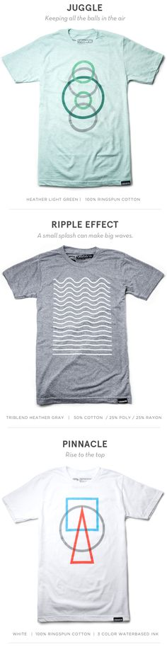 Minimalist Tees With light summer colors and minimalist designs these new tees will help you stand out in the sea of status quo.