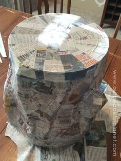"""(That means overnight – maybe longer if you did multiple coats of paper mache.) Paint the top of stump and top of any """"cut branches"""" with ..."""