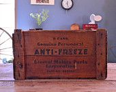 Vintage General Motors Wood Crate, Wood Anti-Freeze Crate, Vinyl Record Storage