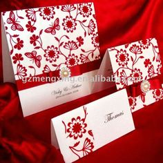 Red And White Wedding Invite With ribbon and pearl detail