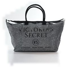 Pre-owned Victoria's Secret Weekender: Gray Women's Bags ($30) ❤ liked on Polyvore featuring bags, luggage and grey