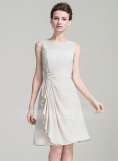A-Line/Princess Scoop Neck Knee-Length Chiffon Mother of the Bride Dress With Beading Appliques Lace Sequins (008080178)