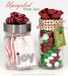 upcycled treat jar tags made by @Amanda Snelson Snelson Coleman with Pebbles Basics #holiday #christmas #gift