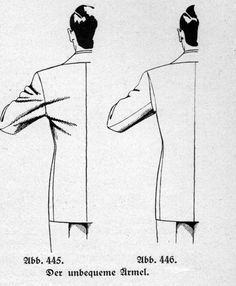 As soon as the wearer is moving his arms forward his arm is restricted by the shape of the armhole: Sewing Hacks, Sewing Tutorials, Sewing Projects, Tailoring Techniques, Sewing Techniques, Pattern Cutting, Pattern Making, Sewing Clothes, Diy Clothes