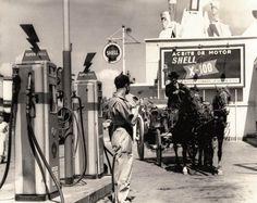 El señor Isidoro en su popular coche llevado por caballos en la gasolinera Shell, durante 1953.
