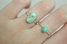 Size 5 Turquoise Stacker Sterling Silver by OnyriaJewelry