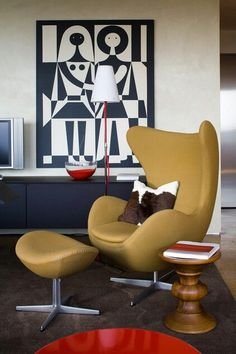 Midcentury living room  with 1958 Arno Jacobsen's Egg chair