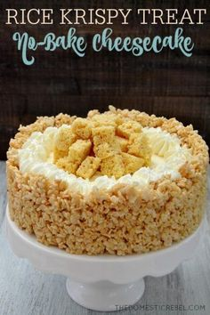 GF Rice Krispie-CHEESECAKE FOR CRUST: 6 cups Rice Krispies cereal ¼ cup salted butter 1 pkg miniature marshmallows FOR FILLING:  1 (8 oz) pkg cream cheese, softened ½ cup sugar 1 tsp vanilla extract 1 (7 oz) jar marshmallow creme/fluff 1 (8 oz) pkg Cool Whip, thawed