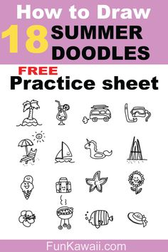 Get Free Practice Sheets! Learn how to draw cute summer doodles with this step-by-step sheets. For kids drawing activity, or for adults who wants to unwind by drawing something cute and simple. Summer Drawings, Mini Drawings, Doodle Drawings, Easy Drawings, Drawing For Beginners, Drawing For Kids, Drawing Tips, Learn Drawing, Drawing Tutorials