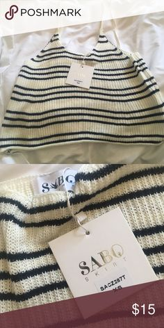 Knit striped tank - brand new! Adorable navy striped knit tank, brand new! Sabo Skirt Tops Tank Tops