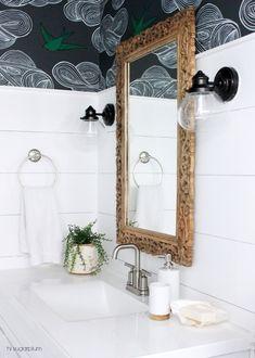 bathroom makeover, wallpaper, black and white via @hisugarplum