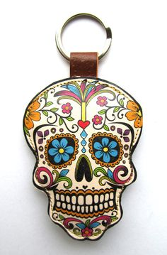 Leather keychain / bag charm  Sugar Skull by corrietovi
