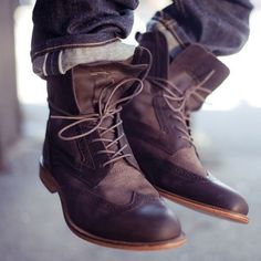 Really like these leather style boots! I like the laces not all the way laced. Cool look.