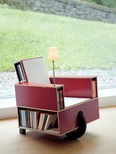 book chair w/ built-in lamp and front wheel for mobility