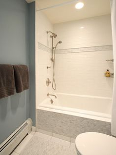 Tile tub surround Gray tile around bathtub Grey tile around