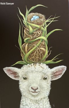 """""""The Babysitter"""" by Vicki Sawyer Easter Bunny Pictures, Baby Animals, Cute Animals, Globe Art, Sheep Art, Found Art, Animal Party, Whimsical Art, Animal Paintings"""