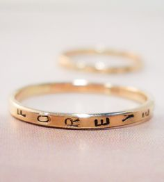 SO awesome. You can stamp a word into a ring. Perfect for a unique wedding band.