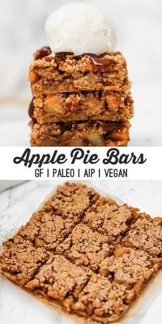 These paleo apple pie bars are perfect for fall holidays, or just a fun weekend treat! They're grain free, as well as AIP and vegan. These apple pie bars are the perfect paleo fall treat! Paleo Dessert, Dessert Oreo, Dessert Sans Gluten, Paleo Menu, Paleo Sweets, Paleo Vegan, Gluten Free Desserts, Healthy Desserts, Dessert Recipes