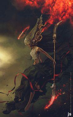 Mechanical Seraph by Carlos-Quevedo on DeviantArt / fantasy warrior / goddess / sci fi / fiery angel Fantasy World, Dark Fantasy, Fantasy Creatures, Mythical Creatures, Art Science Fiction, Art Visionnaire, Fantasy Kunst, Angels And Demons, Art Graphique