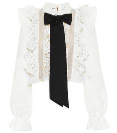 Self-Portrait - Lace-trimmed blouse   Mytheresa