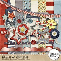 Stars & Stripes Digital Scrapbooking Mini Kit - Show off your patriotic side with Stars & Stripes! Perfect for your Independence and Memorial Day photos, pages about your patriotic pride, pages celebrating the armed services and so much more! This mini kit contains eight 12x12 papers (300dpi, JPG format) and 20 elements (300dpi, PNG format). It's approved for Personal Use and Scrap4Hire/Others, as well.