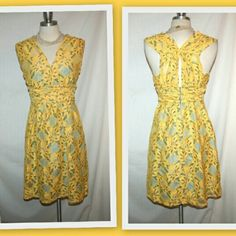 """Anthropologie Tracy Reese Latticelace dress Anthropologie Latticelace dress from Plenty by Tracy Reese. Rayon/spandex knit in a fit and flare silhouette. Ruched waist detail.  Lined in blue fabric that peeks through the yellow lace.  The fabric has some stretch.  New Without Tags.   Bust 34"""" Waist 27 1/2"""" Length 36"""" Anthropologie Dresses"""