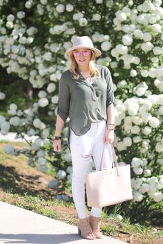 White denim outfit, spring outfit inspiration, summer outfit, hydrangea bushes, preppy, blush, lace up wedges.