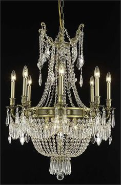 """Telfour - Hanging Fixture D26in H37in 2 (12 Light Traditional Hanging Crystal Chandelier) - 7916D26  ➤ Dimensions: W/D 26"""" x H 37"""""""
