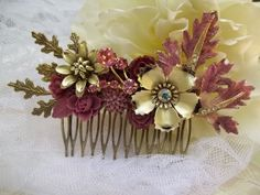 AUTUMN BERRY VINTAGE Haircomb for the by thesparklingsparrow, $92.00