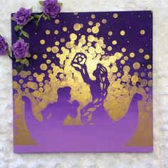 All at Once, Everything Looks Different, Now that I see You! A lovely, hand painted picture inspired by Rapunzel, Flynn Rider, and the beautiful floating lanterns in Tangled!! This is painted on durable pine wood, measures 12 square, and comes ready to hang and display in your
