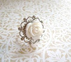 $8 vintage style white rose ring by StrictlyCute on Etsy