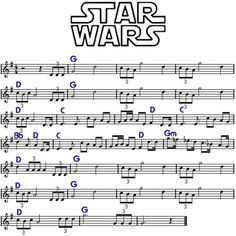 """Star Wars """"main title"""" by John Williams, cicrca Funny, its kinda like """"Born free"""" played inverted. Trumpet Sheet Music, Saxophone Sheet Music, Violin Music, Piano Songs, Piano Sheet Music, Violin Lessons, Music Lessons, Easy Sheet Music, 3d Printing"""