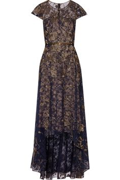 Metallic embroidered lace gown | Marchesa Notte | DE | THE OUTNET