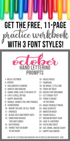 prompts and markers on white with text which reads October hand lettering practice workbook with prompts Hand Lettering For Beginners, Hand Lettering Practice, Hand Lettering Tutorial, Calligraphy Practice, How To Write Calligraphy, Calligraphy Letters, Modern Calligraphy, Lettering Guide, Creative Lettering