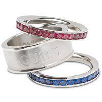 Logo Art, Chicago Cubs Ladies Spirit Crystal Stacked Ring Set.
