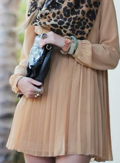 Refined Style ~ Pleats and Leopard print. #Fashion #Nude #Prints