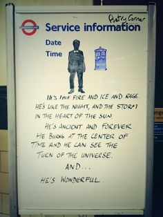 "There's A Wonderful ""Doctor Who"" Tribute At A Tube Stop in the UK."