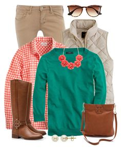 Tippi & Gingham by qtpiekelso on Polyvore featuring J.Crew, Dorothy Perkins, Tory Burch and Lord & Taylor