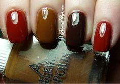 Click thru for Sheila's tortoise shell mani; I just like the brown skittles. From Pointless Cafe.