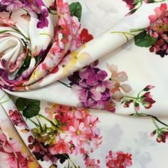 Haute couture luxury viscose fabric buy online, printed floral fabric, fashion designer dresses, made in Italy
