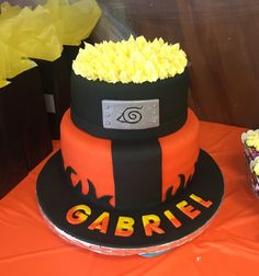 12th Birthday Cake, Birthday Sweets, Birthday Cupcakes, Bolo Do Naruto, Fondant Cakes, Cupcake Cakes, Naruto Party Ideas, Naruto Birthday, Anime Cake