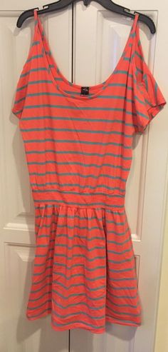 POOF Womens Size Large Dress CORAL AND AQUA STRIPE ELASTIC WAIST OFF SHOULDER  #POOF #Tunic #Casual