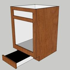 use the kickplate to create a pull out stool that can be used to reach items on the top shelf. Alternately the stool could be used to give little ones a boost. Plywood Cabinets, Garage Cabinets, Diy Kitchen Cabinets, Built In Cabinets, Kitchen Reno, Kitchen Remodeling, Kitchen Stuff, Woodworking Projects That Sell, Woodworking Plans