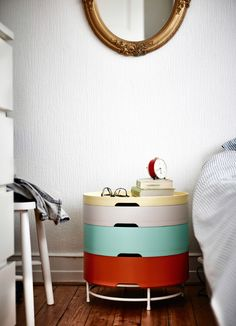 Stack, store and sleep easily with the IKEA PS 2014 storage unit, which doubles up as a nifty bedside table.