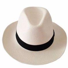 Chapéu Estilo Panamá Branco - Aba Média - Faixa Preta 02e300c6b3d
