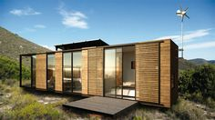 A 40-foot container size steel frame manufactured in its entirety off site. Clad with wooden panels and timber flooring, this unit consists of a bedroom with bathroom and a kitchenette with living space.